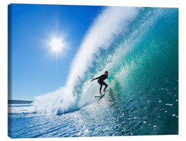 Canvas print  Surfer on Blue Wave