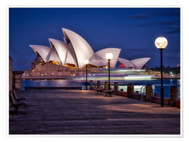 Premium poster  A boat passes through the Sydney Opera House - Jim Nix