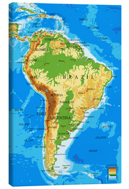 Canvas print  Topographic Map of South America