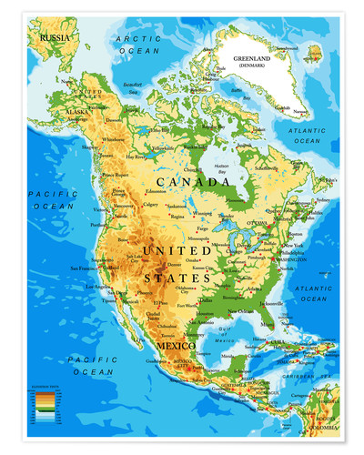 North America Topographic Map Posters And Prints Posterlounge Ie