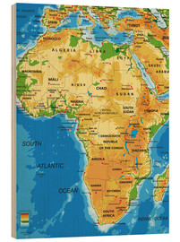 Wood print  Africa - Topographic Map
