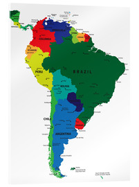 Acrylic print  Map of South America