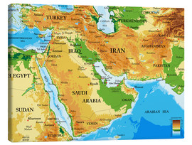 Canvas print  Middle East - Topographic Map
