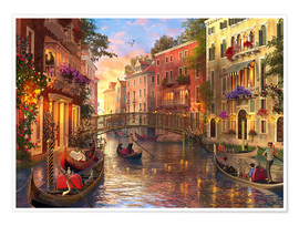 Premium poster  sunset in venice - Dominic Davison