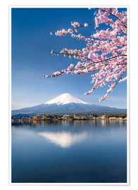 Premium poster  Mount Fuji and Lake Kawaguchiko in Japan during the cherry blossom season - Jan Christopher Becke