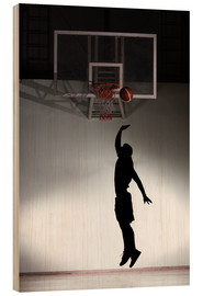 Wood print  Silhouette of a basketball player