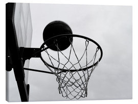 Canvas print  A view of a basketball hoop from below