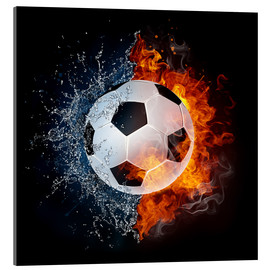 Acrylic print  Football in the battle of the elements