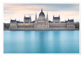 Premium poster  Hungarian Parliament with Danube, Budapest - Frank Fischbach