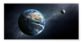 Premium poster  Earth and moon from outer space - Johan Swanepoel