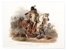 Premium poster  A Blackfoot indian on horseback - Karl Bodmer