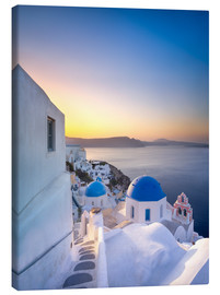 Canvas print  Sunrise over the Blue Roofs of Santorini - Jan Christopher Becke