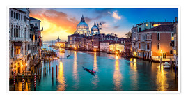 Premium poster  Grand Canal in Venice at night, Italy - Jan Christopher Becke