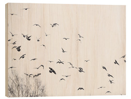 Wood print  Flock of birds