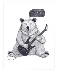 Premium poster Rocking bear with electric guitar
