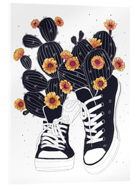 Acrylic print  Sneakers with flowering cactuses - Valeriya Korenkova