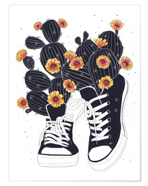 Premium poster  Sneakers with flowering cactuses - Valeriya Korenkova