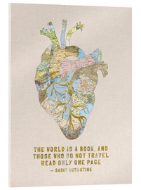 Acrylic print  A Travelers Heart + Quote - Bianca Green