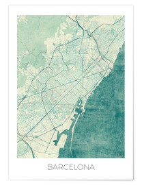 Premium poster  Map of Barcelona in blue - Hubert Roguski