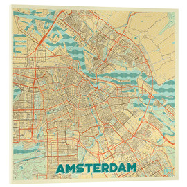 Acrylic print  Amsterdam Map Retro - Hubert Roguski
