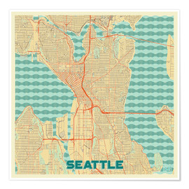 Premium poster  Seattle Map Retro - Hubert Roguski