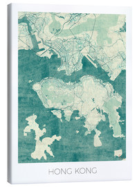 Canvas print  Hong Kong Map Blue - Hubert Roguski