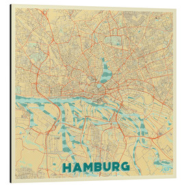 Aluminium print  Hamburg, Germany Map Retro - Hubert Roguski