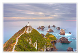 Premium poster Nugget Point Lighthouse in New Zealand