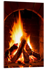 Acrylic print  Wood in the fireplace