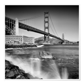 Premium poster  Golden Gate Bridge with breakers - Melanie Viola