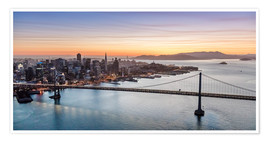 Premium poster  Aerial view of San Francisco at sunset, USA - Matteo Colombo