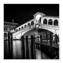 Premium poster  VENICE Rialto Bridge at Night - Melanie Viola