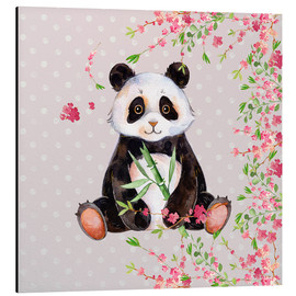 Aluminium print  Little panda bear with bamboo and cherry blossoms - UtArt
