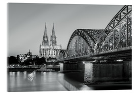 Acrylic print  Cologne at night, black and white - Michael Valjak