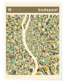 Premium poster  BUDAPEST MAP - Jazzberry Blue