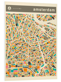Foam board print  AMSTERDAM MAP - Jazzberry Blue