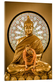 Acrylic print  Buddha statue and Wheel of life background