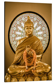 Aluminium print  Buddha statue and Wheel of life background