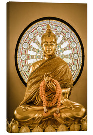 Canvas print  Buddha statue and Wheel of life background