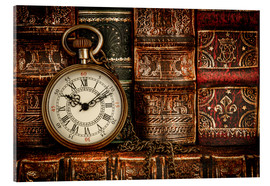 Acrylic print  Clock in front of books