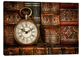 Canvas print  Clock in front of books