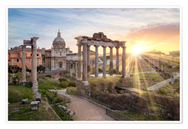 Premium poster Sunset at the Roman Forum in Rome, Italy