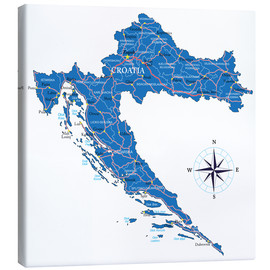 Canvas print  Map of Croatia
