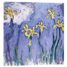 Acrylic print  Yellow Iris with Pink Cloud - Claude Monet