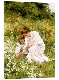 Acrylic print  When picking daisies - Hermann Seeger