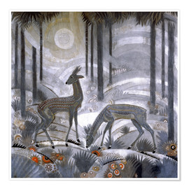 Premium poster  Two deer in the woods - Jean Dunand