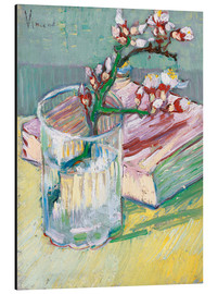 Aluminium print  Flowering almond branch in a glass with a book - Vincent van Gogh
