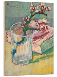 Wood print  Flowering almond branch in a glass with a book - Vincent van Gogh
