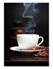 Premium poster  Steaming coffee cup