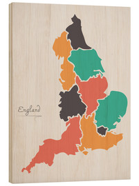 Wood print  England map modern abstract with round shapes - Ingo Menhard